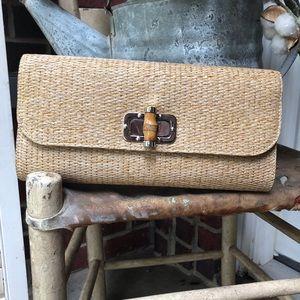 Handbags - Bamboo Handle Woven Straw Clutch
